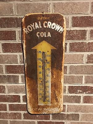 1950s *ROYAL CROWN SODA* Advertising METAL Wall THERMOMETER Works PATINA Vintage