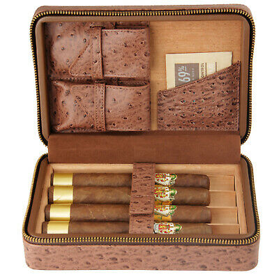 COHIBA Black Leather Cedar Cigar Case Humidor W/ Cutter Lighter Set 4 Count