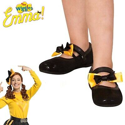 Emma Wiggle Shoe Bows Girls Costume Licensed The Wiggles Yellow Black Bows