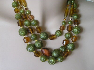Triple row vintage necklace beautiful plastic beads 1950-1960 West Germany