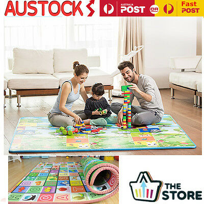 200*180*2CM Baby Play Mat Fruit Letters And Animal World Baby PicnicCrawling Mat