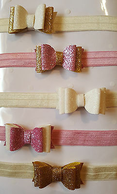 "Handmade Baby Headbands With Glitter Bow - Nb - 18-24 Months- 5 Colours - 2"" Bow"