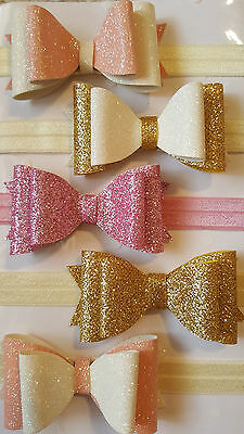 "Handmade Baby Headbands With Glitter Bow - Nb - 18-24 Months- 5 Colours - 3"" Bow"
