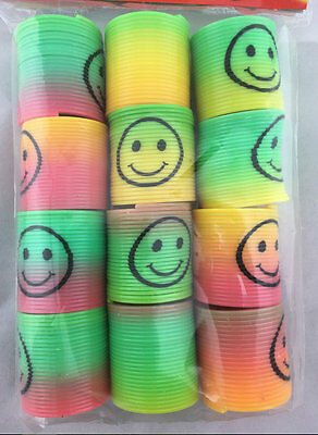 36pc Mini Plastic Colourful Rainbow Spring Slinky Kids Toy Party Favour Bulk
