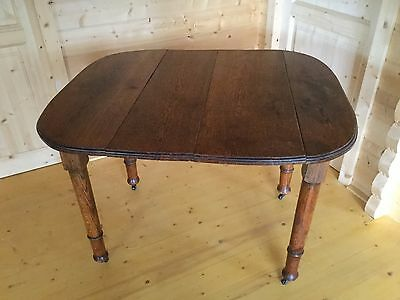 Antique Oak Dining Table, Turned Legs, Casters