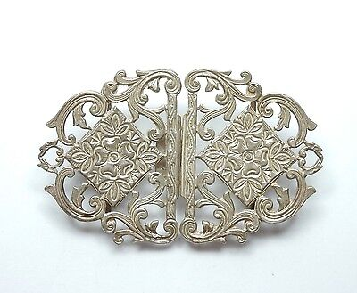 Modern Sheffield 1992 925 Sterling Silver Antique Style Nurses Belt Buckle 42.2g