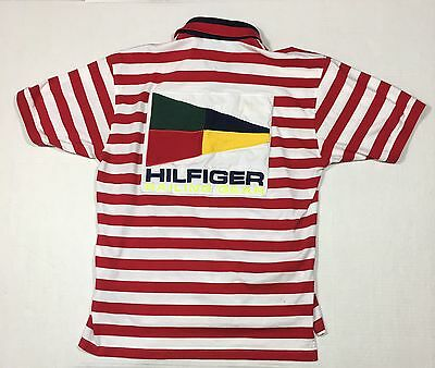 Rare Vintage 90's Tommy Hilfiger Sailing Gear Striped Polo Shirt Large Big Flag