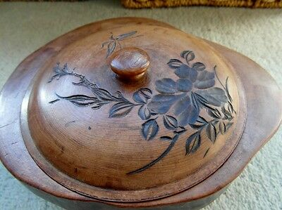Attractive Unusual Cherry Wood Dish with Lid
