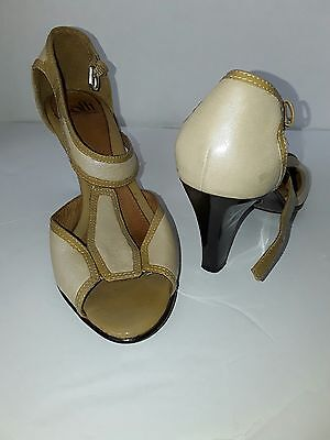 "SOFFT Metallic Gold With Tan Patent Leather Trim T Strap. 3 1/2"" Heels Shoes 7M"