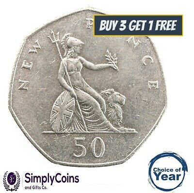 1969 TO 1997 ELIZABETH II CUPRO NICKEL LARGE DECIMAL 50p- CHOICE OF YEAR / DATE