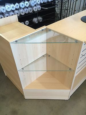 Maple timber and glass corner display unit BRAND NEW retail shop fittings