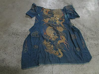 Antique Japanese Silk Kimono Gold Thread Embroidered Dragons Old Estate Item