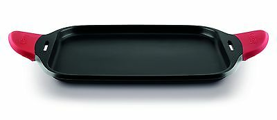 Castey 45cm Induction Flat Tray with Red Rounded Silicone Handle *Ex Demo*