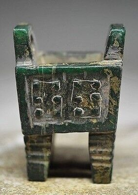 Unique Chinese old jade hand carved Stove Ding statue sq9