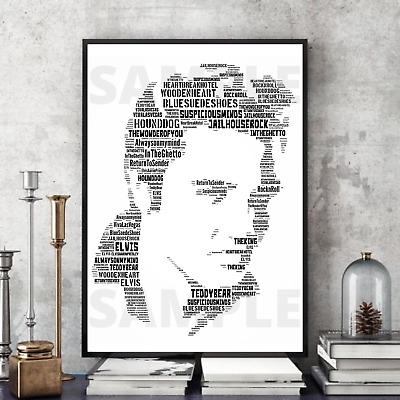 Elvis Presley Lyrics Word Art Personalised Keepsake Gift UK SellerFast Delivery