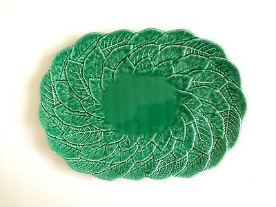 Jardin by Shafford Green Ceramic Leaf Pattern Oval Serving Dish Plate Platter
