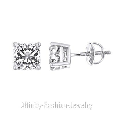 2.0 Ct Princess Cut Solitaire Stud Earrings Solid 14K White Gold Screw Back