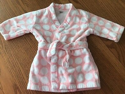 Carter's One Size Baby Girls Pink Polka Dot Terry Cloth Bath Robe