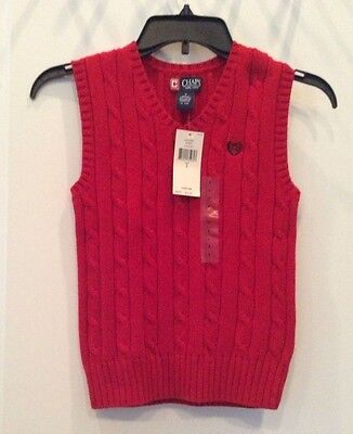 NWT Ralph Lauren CHAPS Boys Red Cable Sweater Vest Size 7 100% Cotton NEW $32