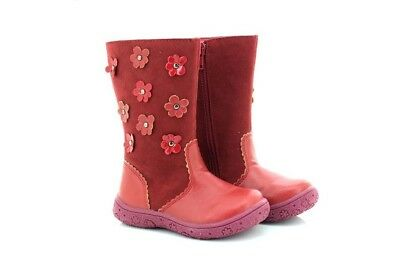Chatterbox Red Faux Suede Boots Childrens Flower Stud Shoes