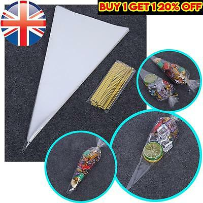 *UK Seller* 100X Cellophane Cello Cones Sweets Bags Loot Gift Wedding w/ Ties