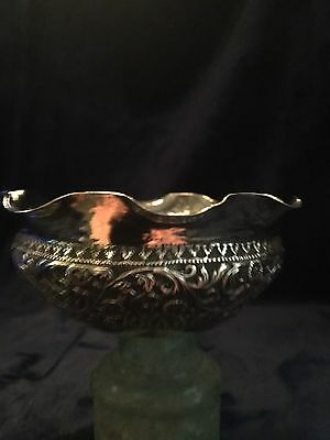 Antique Persian/ Islamic solid silver bowl c1890 beautiful. Hall Marked.
