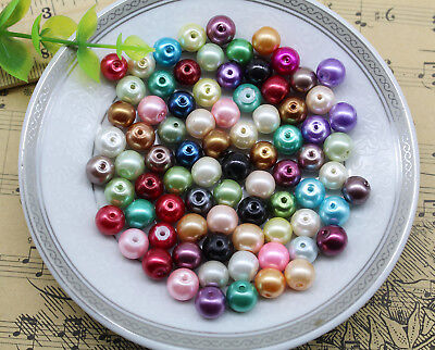 Wholesale 6mm 8mm Mixed Color Glass Pearl Spacer Beads Craft Loose Beads DIY
