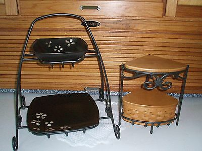 Longaberger wrought iron corner stand and plate stand