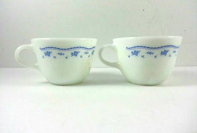 Pyrex Morning Blue White Glass Cups / Mugs Set Of 2 Vintage