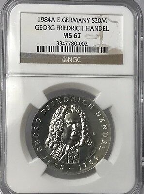 1984A East Germany Silver 20 Mark Georg Friedrich Handel Ngc Ms67 #3347780-002