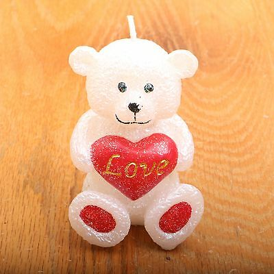 White Bear With Red Love Heart Candle Figurine