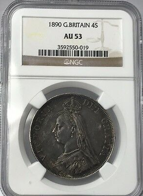 1890 Great Britain Double Florin Ngc Au53 #3592550-019 - Beautiful Coin!! Km#763