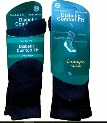 New 4Pairs Men's Bamboo Diabetic Comfort Fit Crew Style Socks Loose Top size6-11