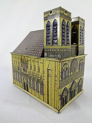 Notre Dame – Pre-War Hand-Crank MUSIC BOX; Early German Tin Toy Church; Vintage