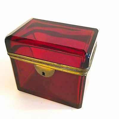 Antique Bohemian Ruby Red Glass  Box From 19 Century,beautiful Made In 1870S