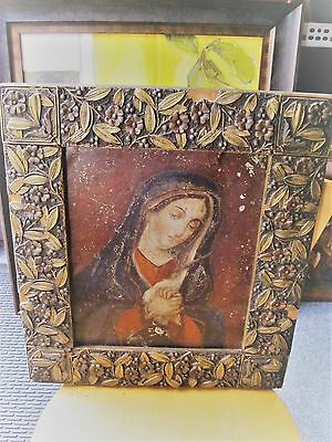 Original Antique Retablo On Tin Ou Lady Of Sorrow Beautiful Old Frame