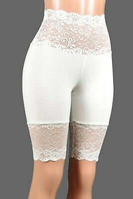 ff400d8d17 Knee Length Wide Waistband Ivory Off White Stretch Lace Shorts XS-3XL plus  size
