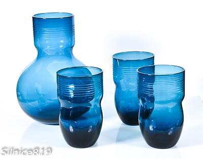 Eastern glass Dark Blue Pitcher With 3 Tumbler Glasses