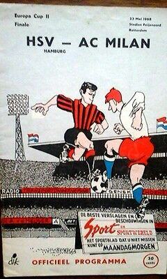 Hamburg V Ac Milan 23/5/1968 European Cup Winners Cup Final