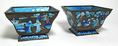 2 ANTIQUE CHINESE ENAMEL MATCHING PLANTERS China early 20th century old pair