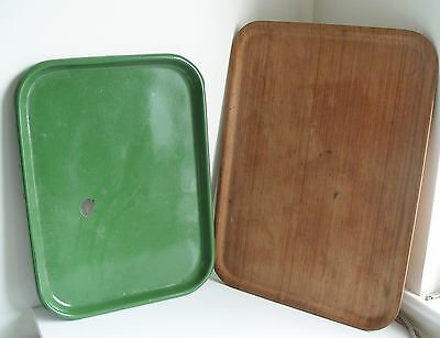 Vintage Large Wooden Serving Tray and Green Metal Serving Tray