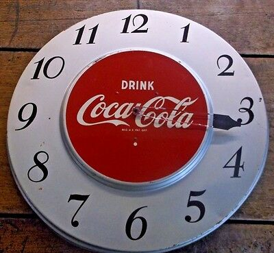 Vintage 1950's COKE Clock ~Metal ~Runs ~Drink Cocacola ~Red/Silver  ~17 1/2""
