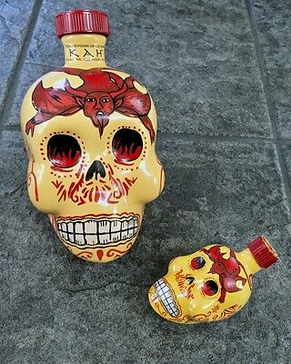 "KAH Reposado Tequila ceramic Skull Bottle w/"" Mini-Me"" ceramic EMPTY 750ml/.05ml"