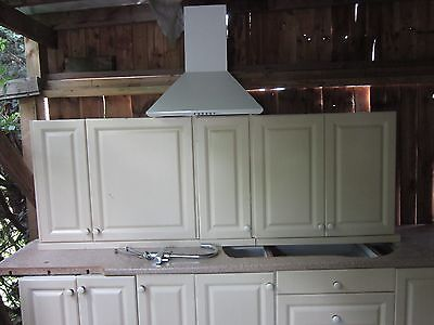 kitchen units complete with oven/hob/sink/worktops/cooker hood (vanilla colour)