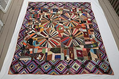 "Antique Crazy Quilt Western vintage 84"" x 74""  Silk and cotton, hand embroidery"