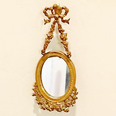Ornate  Antique French Ormolu Oval Floral & Bow Picture Portrait Frame & Hanger