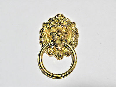 Lions Head  Ring Pull For Drawers Brass