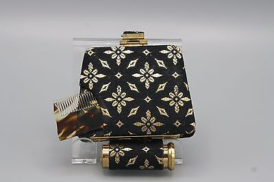 Vtg 50's Carry All Minaudiere Compact Lipstick Duo with Comb Black Gold Fabric