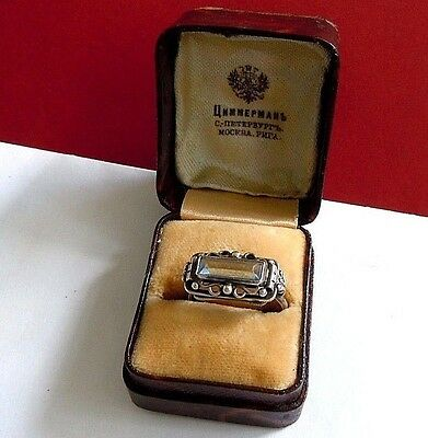 Rare  imperial RUSSIAN 84 SILVER RING with Crystal Faberge design