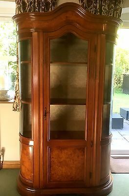 Regency Style Walnut & Mahogany Bow Fronted Display Cabinet